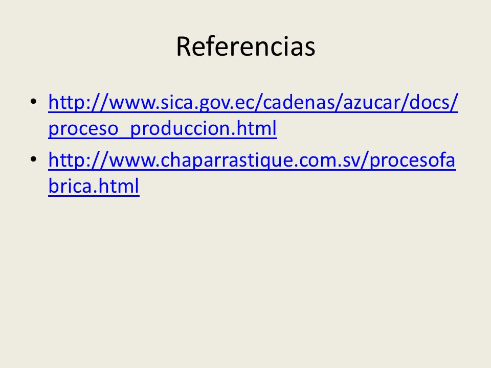Referencias http://www.sica.gov.ec/cadenas/azucar/docs/proceso_produccion.html.