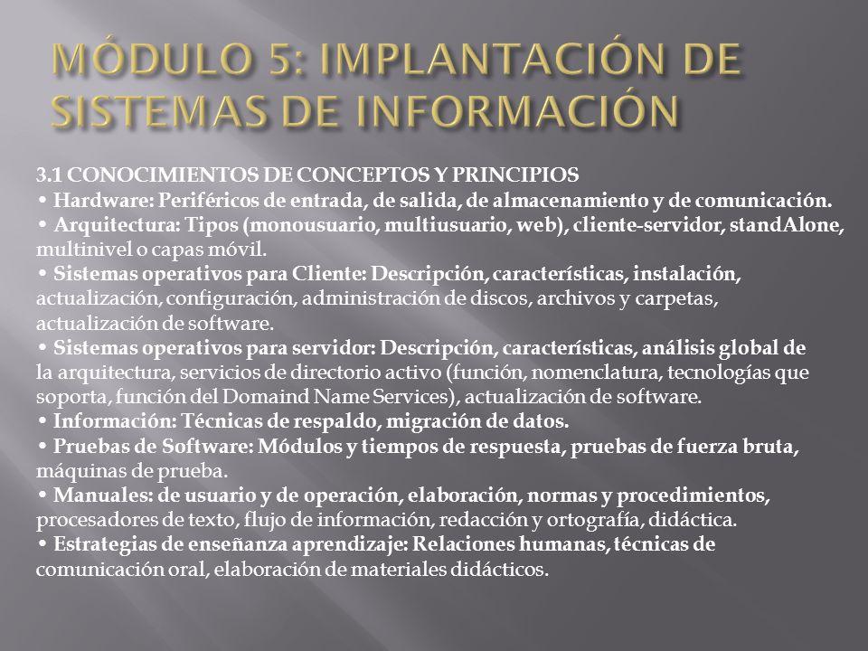 MÓDULO 5: IMPLANTACIÓN DE SISTEMAS DE INFORMACIÓN