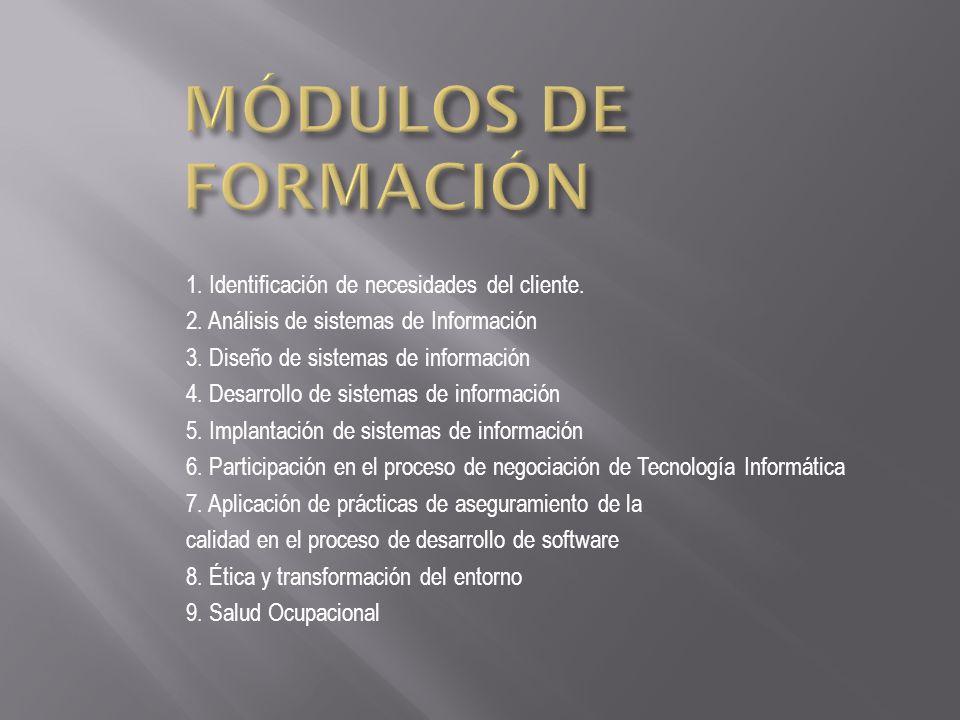 MÓDULOS DE FORMACIÓN 1. Identificación de necesidades del cliente.