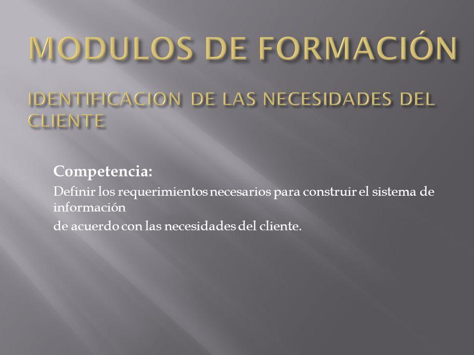 MODULOS DE FORMACIÓN IDENTIFICACION DE LAS NECESIDADES DEL CLIENTE