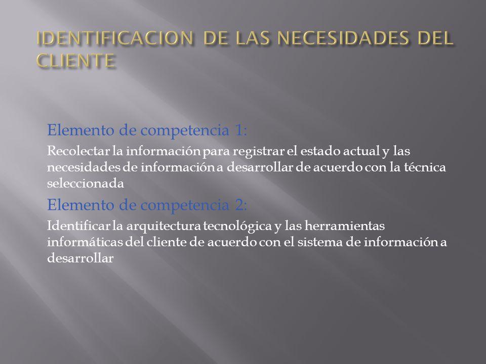 IDENTIFICACION DE LAS NECESIDADES DEL CLIENTE