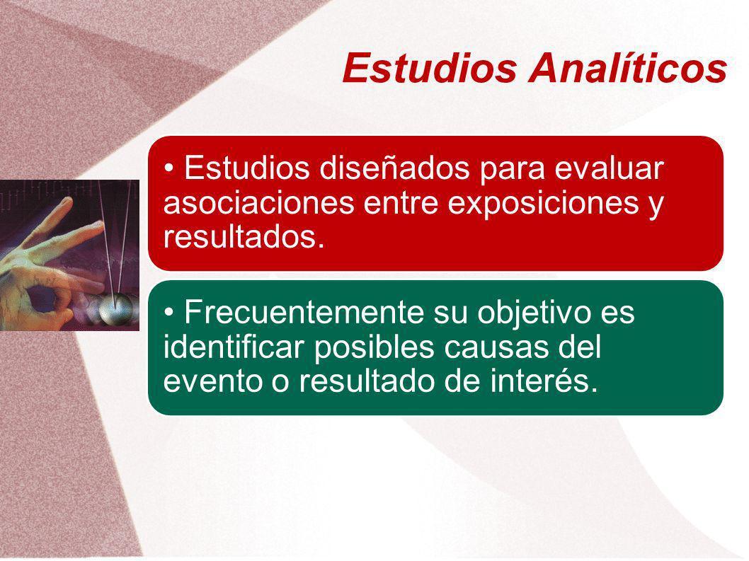 Estudios Analíticos • Estudios diseñados para evaluar asociaciones entre exposiciones y resultados.