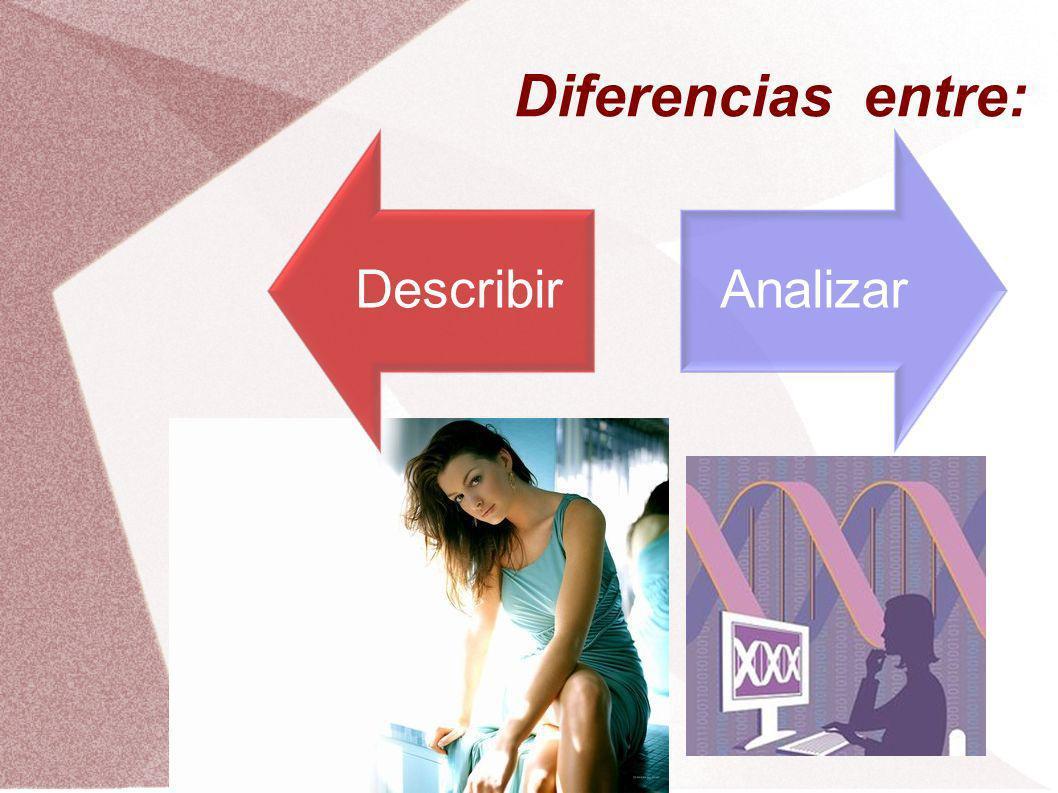 Diferencias entre: Describir Analizar