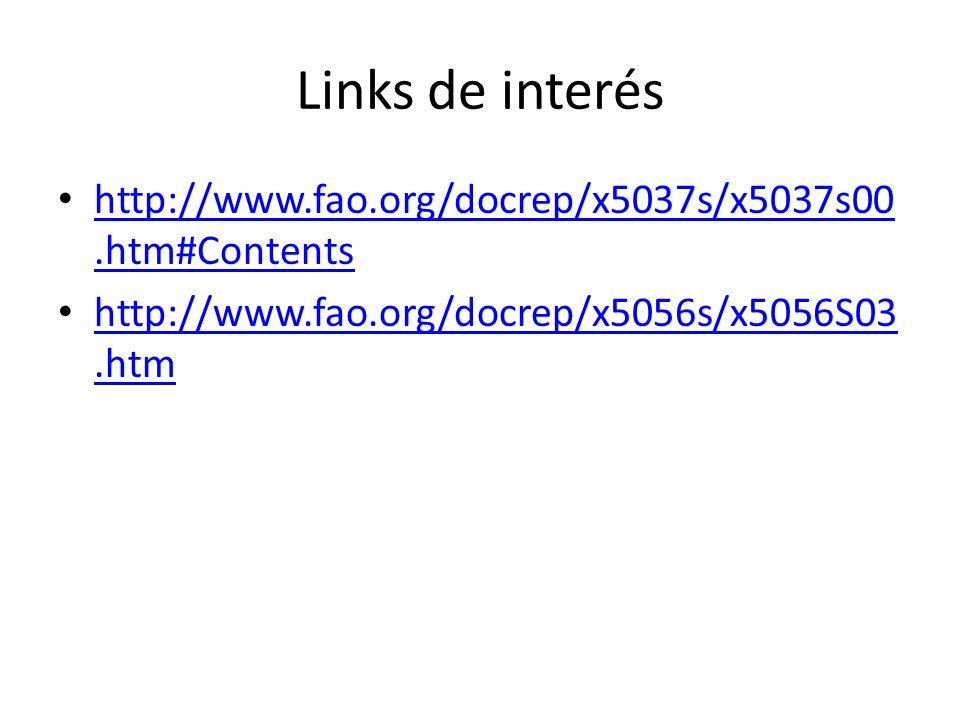 Links de interés http://www.fao.org/docrep/x5037s/x5037s00.htm#Contents.