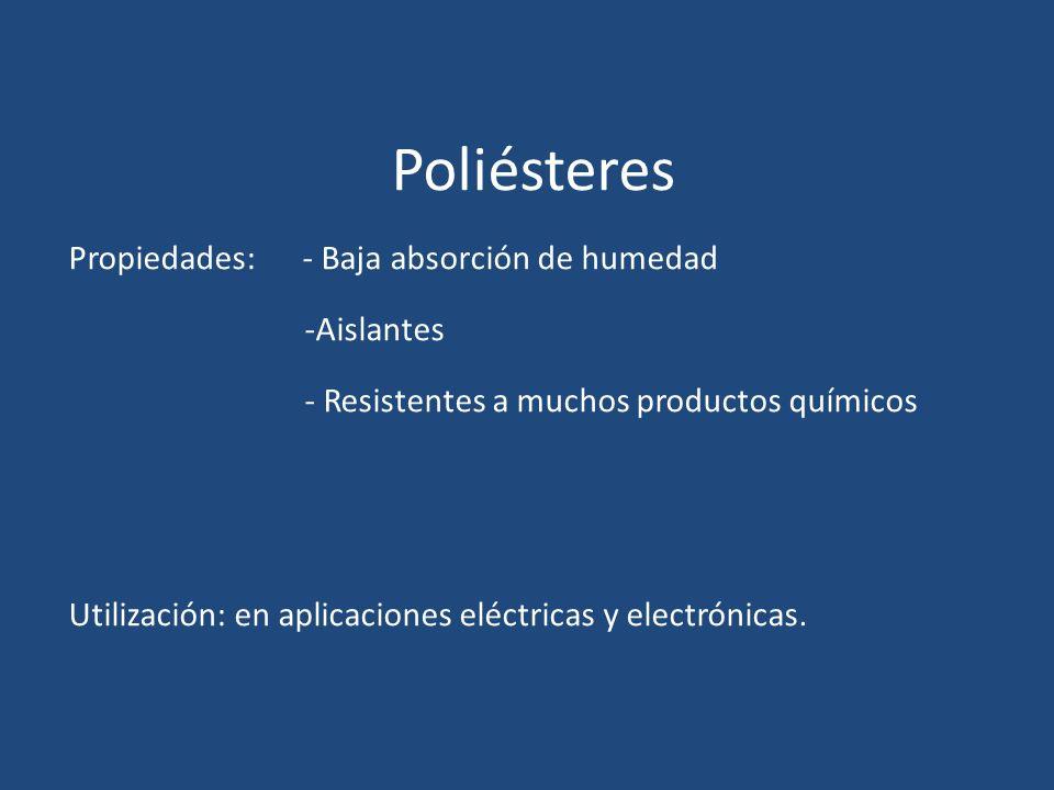 Poliésteres Propiedades: - Baja absorción de humedad -Aislantes