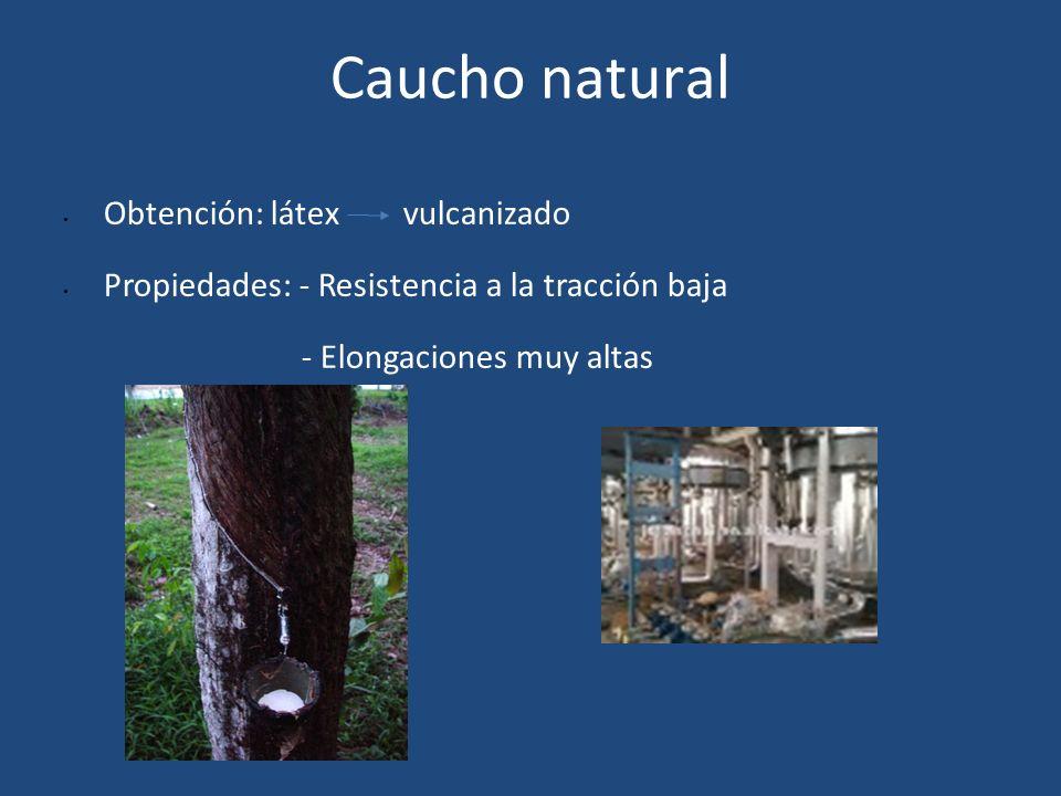 Caucho natural Obtención: látex vulcanizado