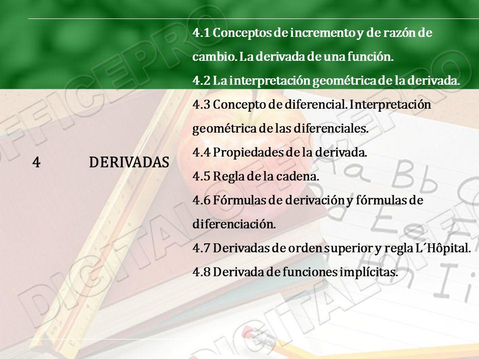 4 DERIVADAS. 4.1 Conceptos de incremento y de razón de cambio. La derivada de una función. 4.2 La interpretación geométrica de la derivada.