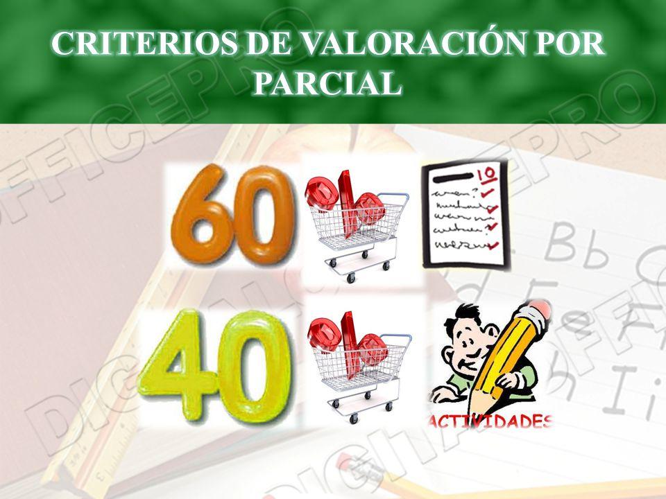 CRITERIOS DE VALORACIÓN POR PARCIAL