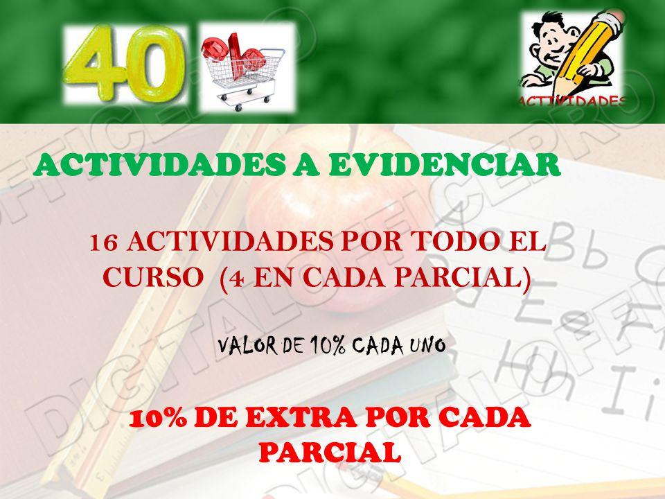 16 ACTIVIDADES POR TODO EL CURSO (4 EN CADA PARCIAL)