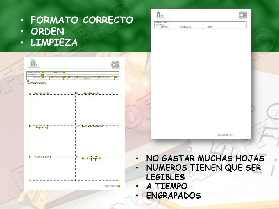 FORMATO CORRECTO ORDEN LIMPIEZA NO GASTAR MUCHAS HOJAS