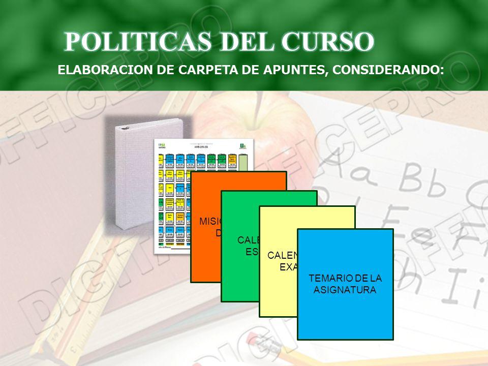 ELABORACION DE CARPETA DE APUNTES, CONSIDERANDO: