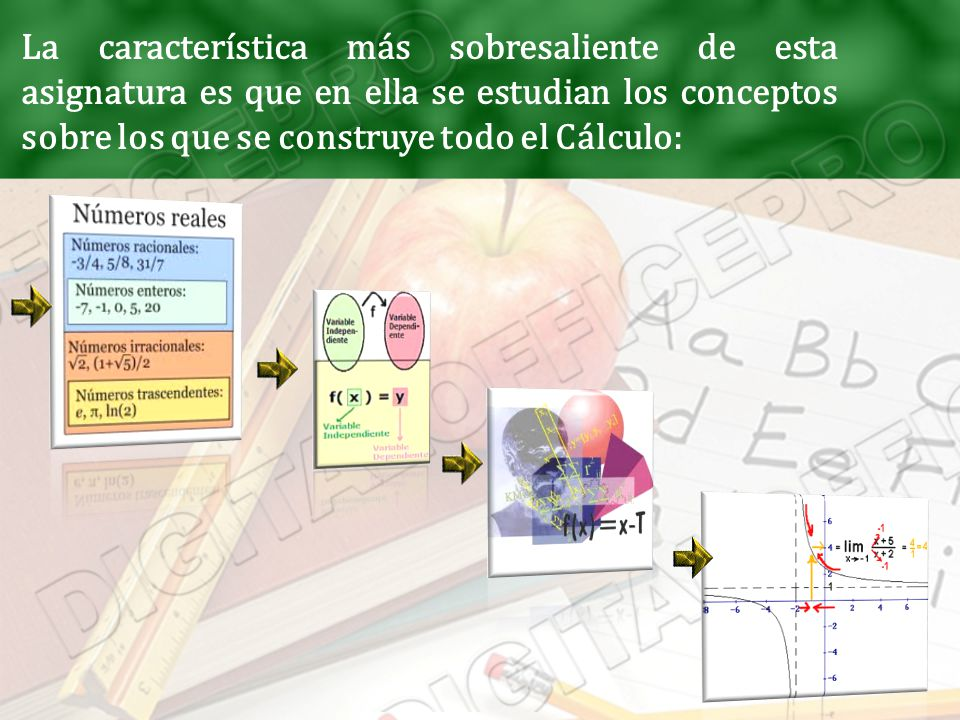 La característica más sobresaliente de esta asignatura es que en ella se estudian los conceptos sobre los que se construye todo el Cálculo: