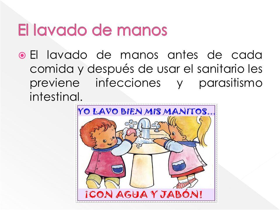 El lavado de manos El lavado de manos antes de cada comida y después de usar el sanitario les previene infecciones y parasitismo intestinal.
