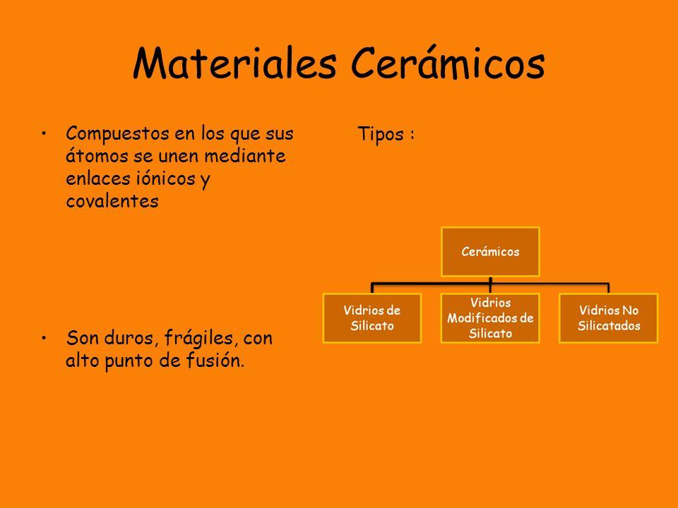 Materiales CerámicosCompuestos en los que sus átomos se unen mediante enlaces iónicos y covalentes.