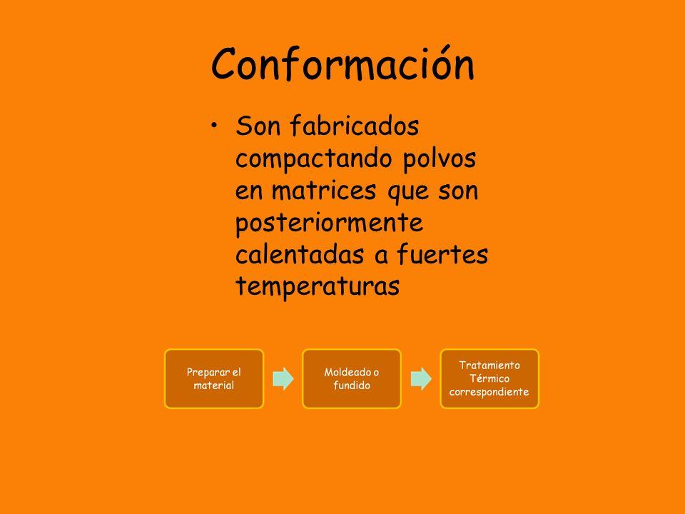 Conformación Son fabricados compactando polvos en matrices que son posteriormente calentadas a fuertes temperaturas.