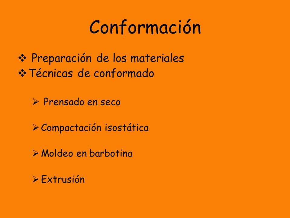 Conformación Preparación de los materiales Técnicas de conformado