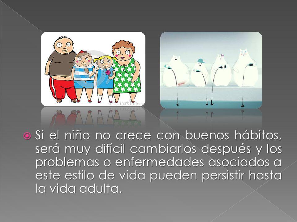Si el niño no crece con buenos hábitos, será muy difícil cambiarlos después y los problemas o enfermedades asociados a este estilo de vida pueden persistir hasta la vida adulta.