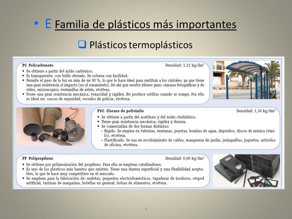 E Familia de plásticos más importantes