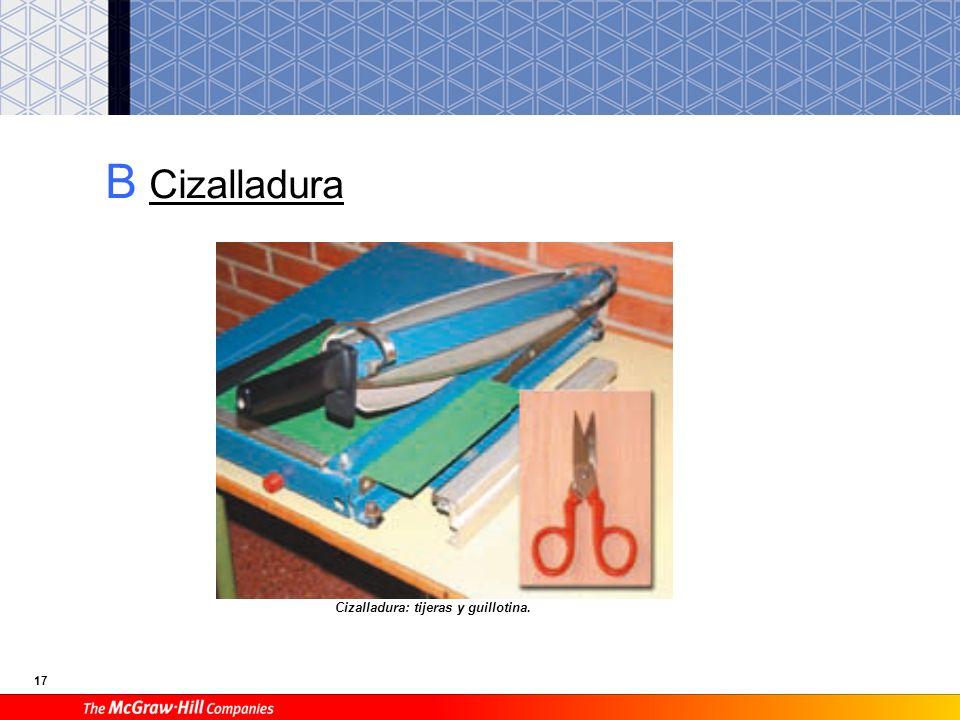 B Cizalladura Cizalladura: tijeras y guillotina.