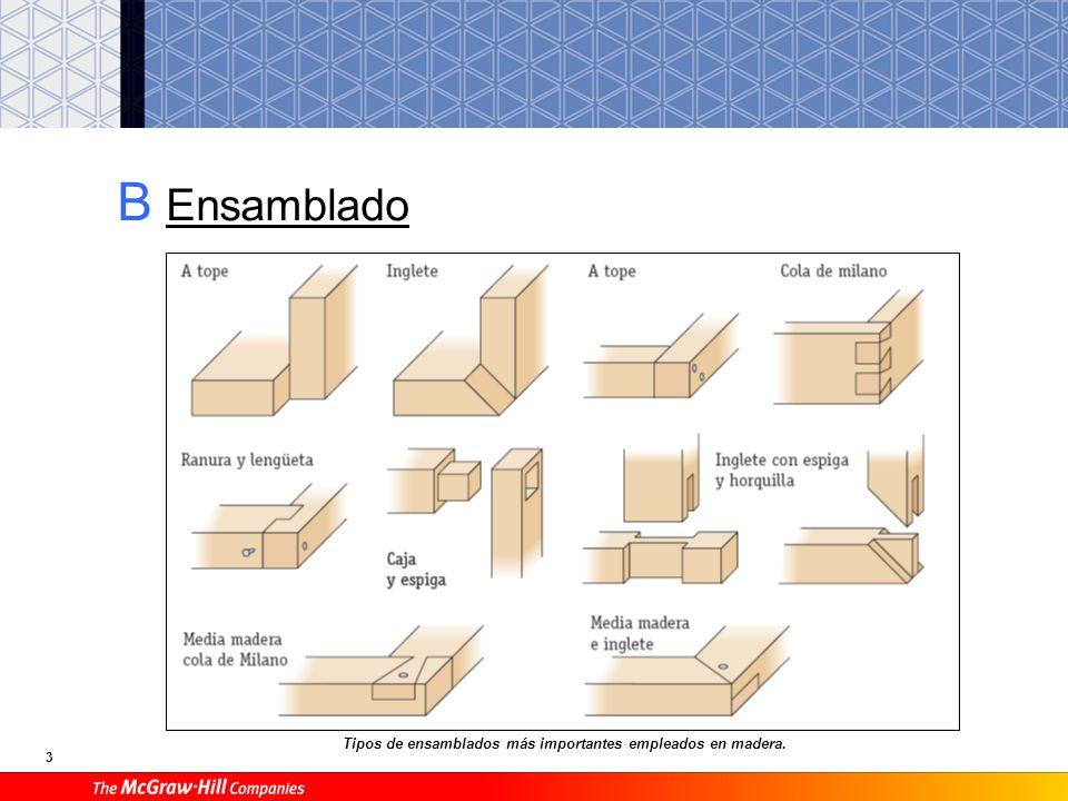 B Ensamblado Tipos de ensamblados más importantes empleados en madera.