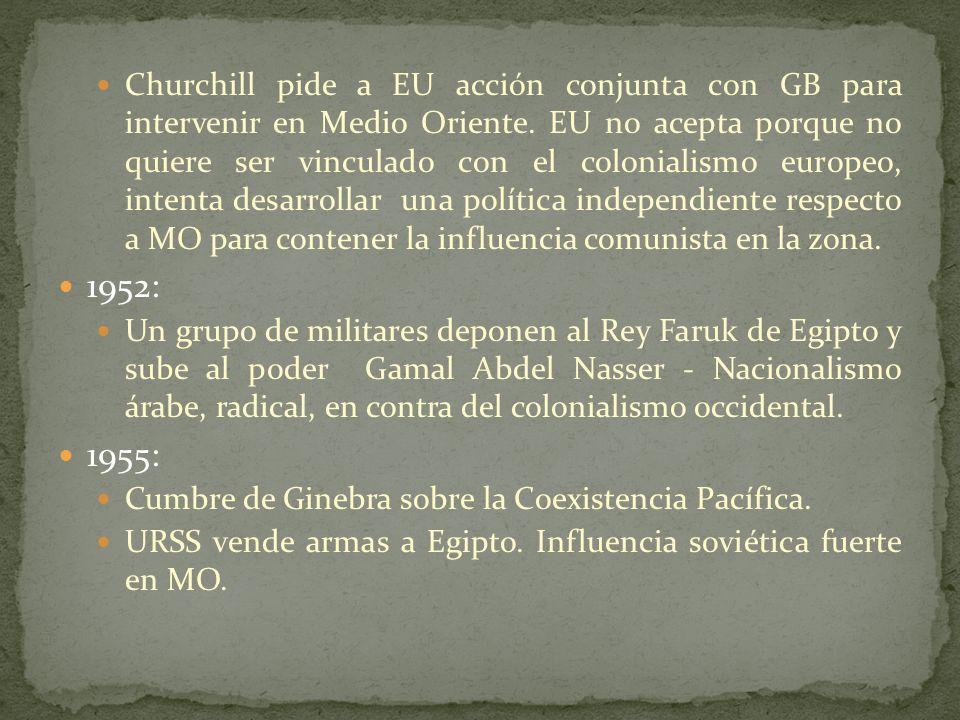 Churchill pide a EU acción conjunta con GB para intervenir en Medio Oriente. EU no acepta porque no quiere ser vinculado con el colonialismo europeo, intenta desarrollar una política independiente respecto a MO para contener la influencia comunista en la zona.