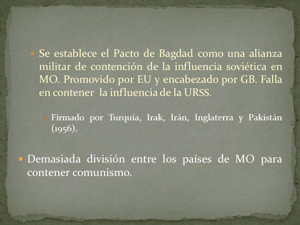 Demasiada división entre los países de MO para contener comunismo.