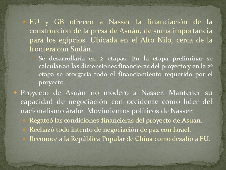 EU y GB ofrecen a Nasser la financiación de la construcción de la presa de Asuán, de suma importancia para los egipcios. Ubicada en el Alto Nilo, cerca de la frontera con Sudán.