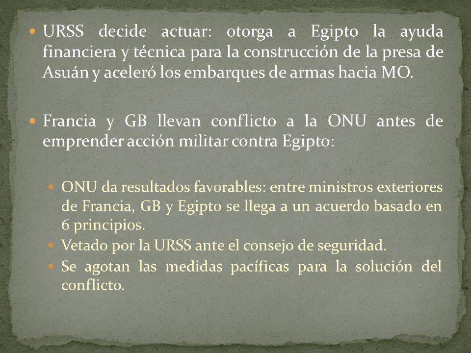 URSS decide actuar: otorga a Egipto la ayuda financiera y técnica para la construcción de la presa de Asuán y aceleró los embarques de armas hacia MO.