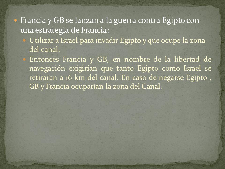 Francia y GB se lanzan a la guerra contra Egipto con una estrategia de Francia: