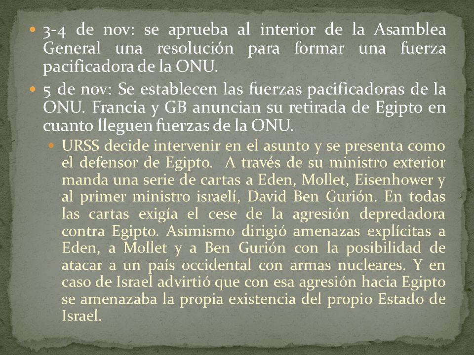 3-4 de nov: se aprueba al interior de la Asamblea General una resolución para formar una fuerza pacificadora de la ONU.