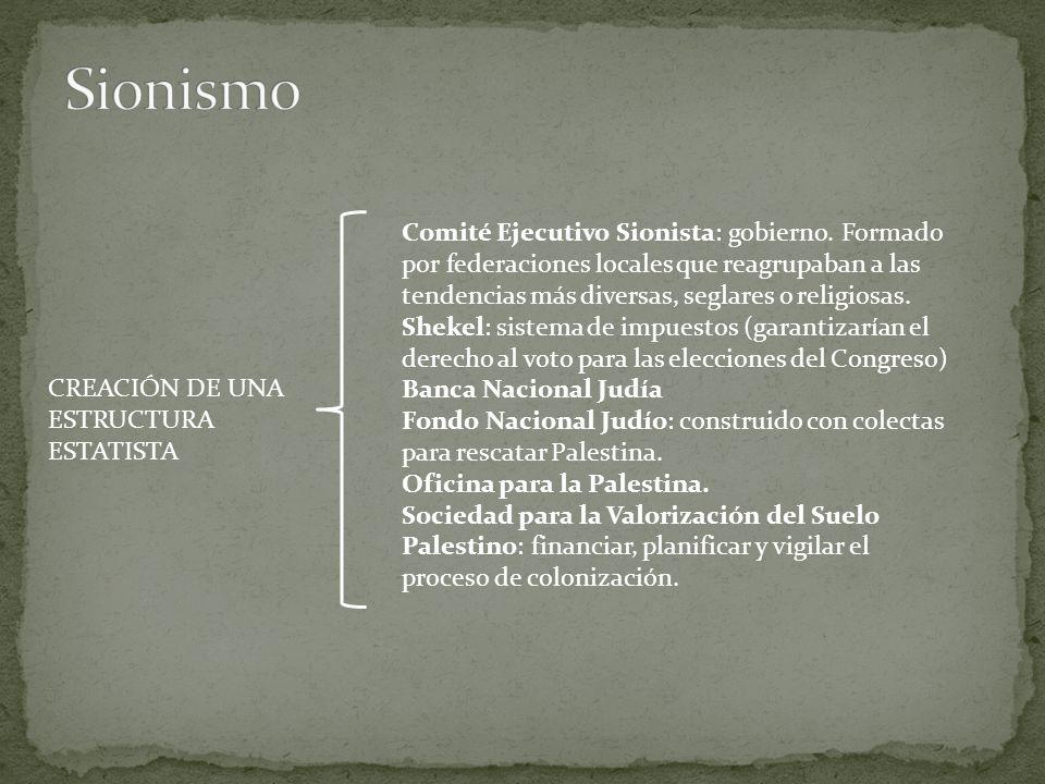 Sionismo Comité Ejecutivo Sionista: gobierno. Formado por federaciones locales que reagrupaban a las tendencias más diversas, seglares o religiosas.