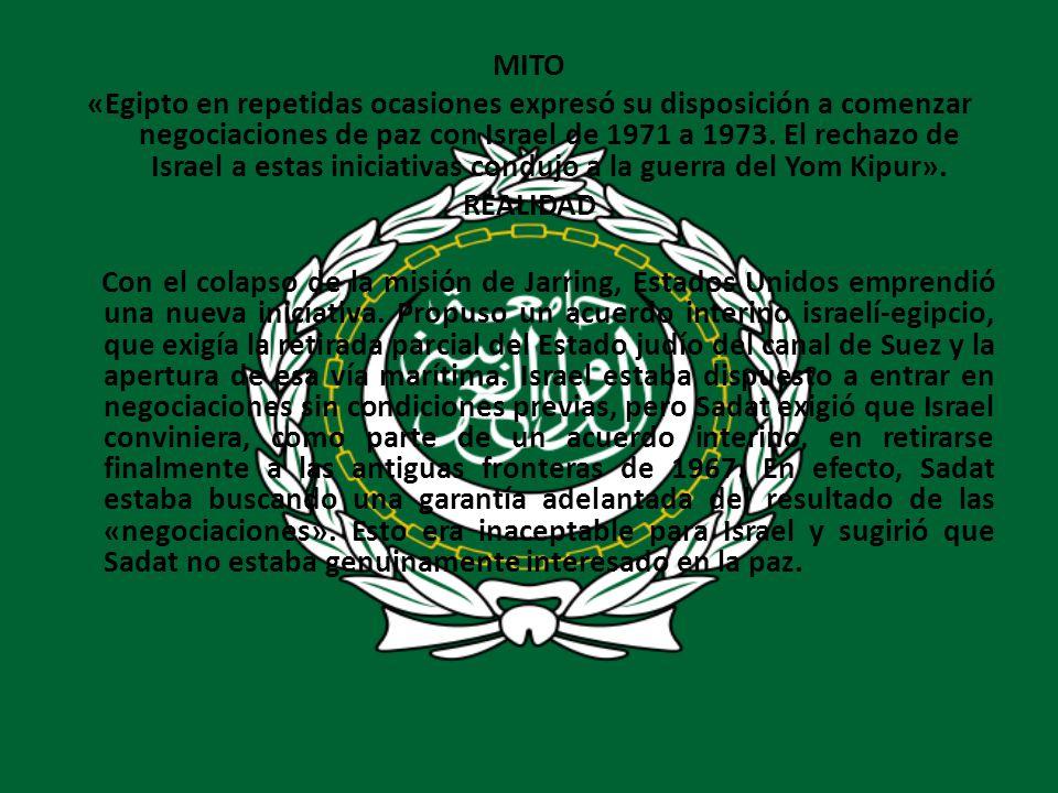 MITO «Egipto en repetidas ocasiones expresó su disposición a comenzar negociaciones de paz con Israel de 1971 a 1973.