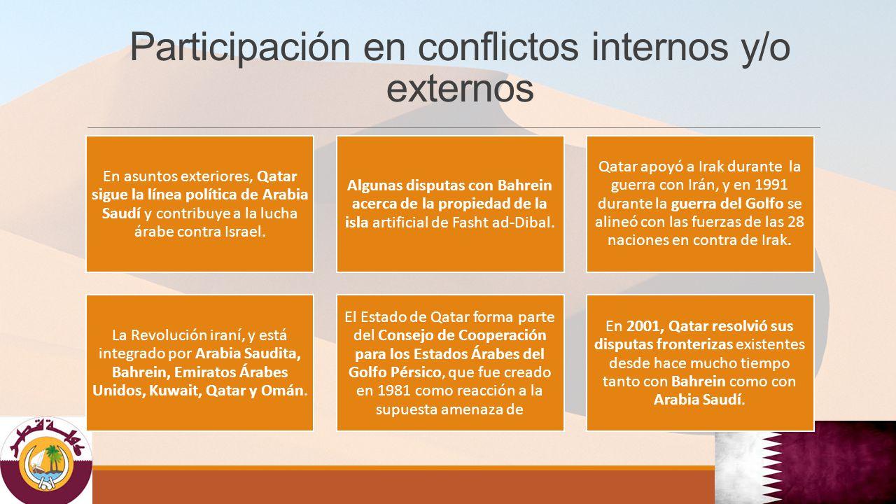 Participación en conflictos internos y/o externos