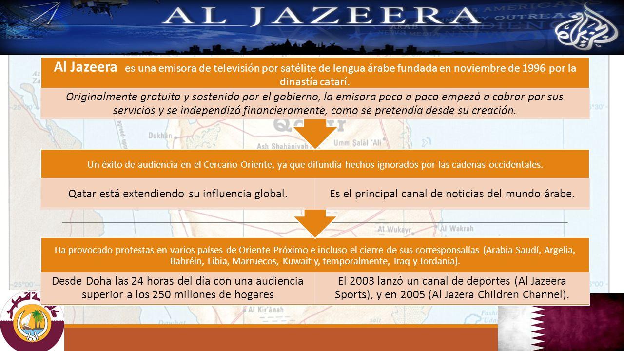 Al Jazeera es una emisora de televisión por satélite de lengua árabe fundada en noviembre de 1996 por la dinastía catarí.