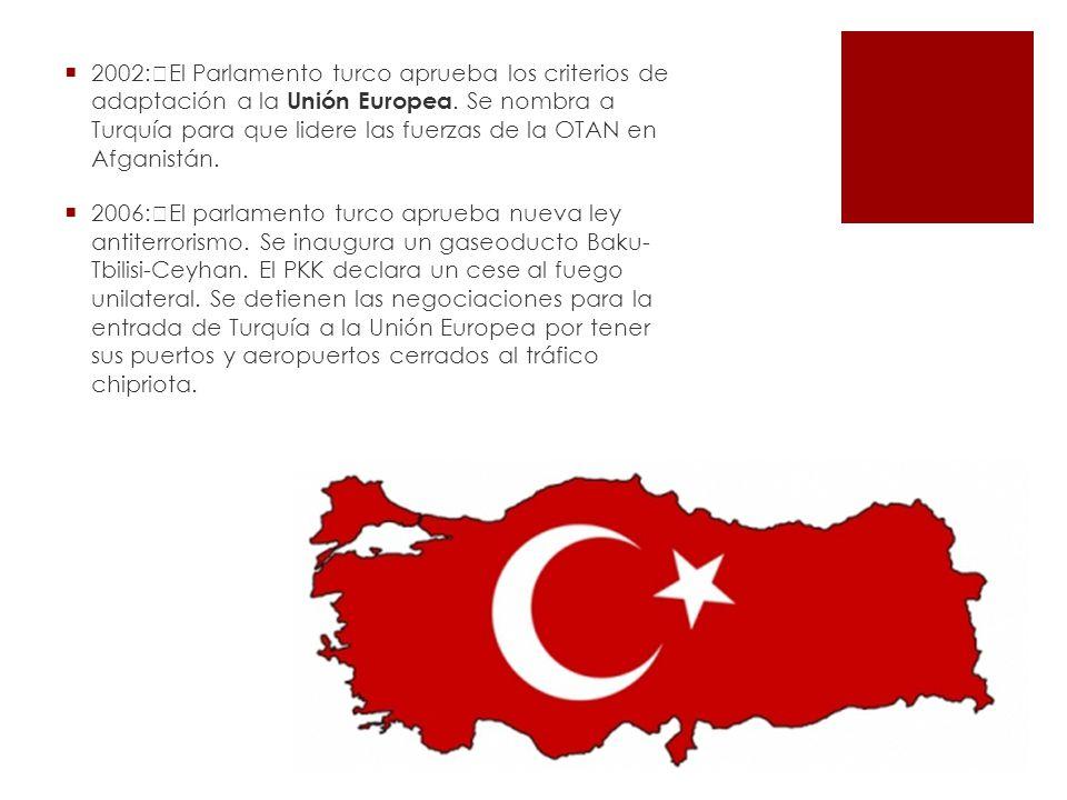 2002: El Parlamento turco aprueba los criterios de adaptación a la Unión Europea. Se nombra a Turquía para que lidere las fuerzas de la OTAN en Afganistán.