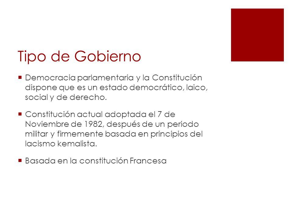 Tipo de Gobierno Democracia parlamentaria y la Constitución dispone que es un estado democrático, laico, social y de derecho.