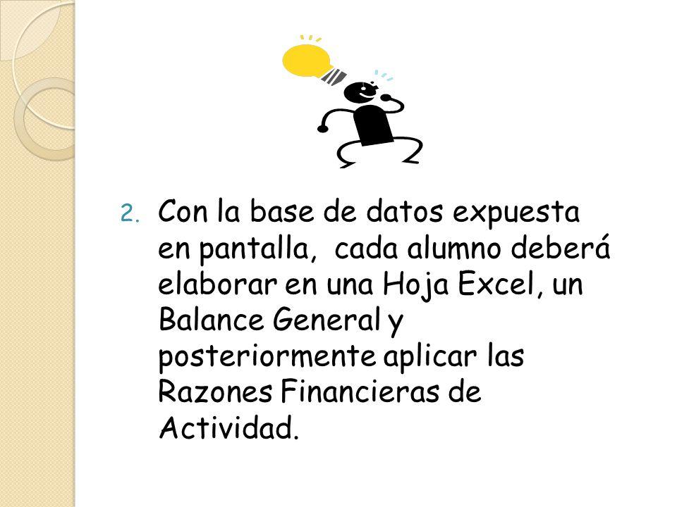 Con la base de datos expuesta en pantalla, cada alumno deberá elaborar en una Hoja Excel, un Balance General y posteriormente aplicar las Razones Financieras de Actividad.