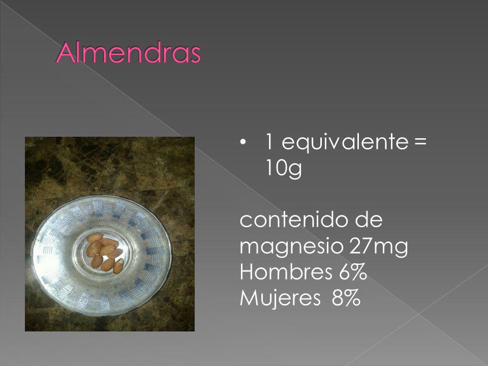 Almendras 1 equivalente = 10g contenido de magnesio 27mg Hombres 6%
