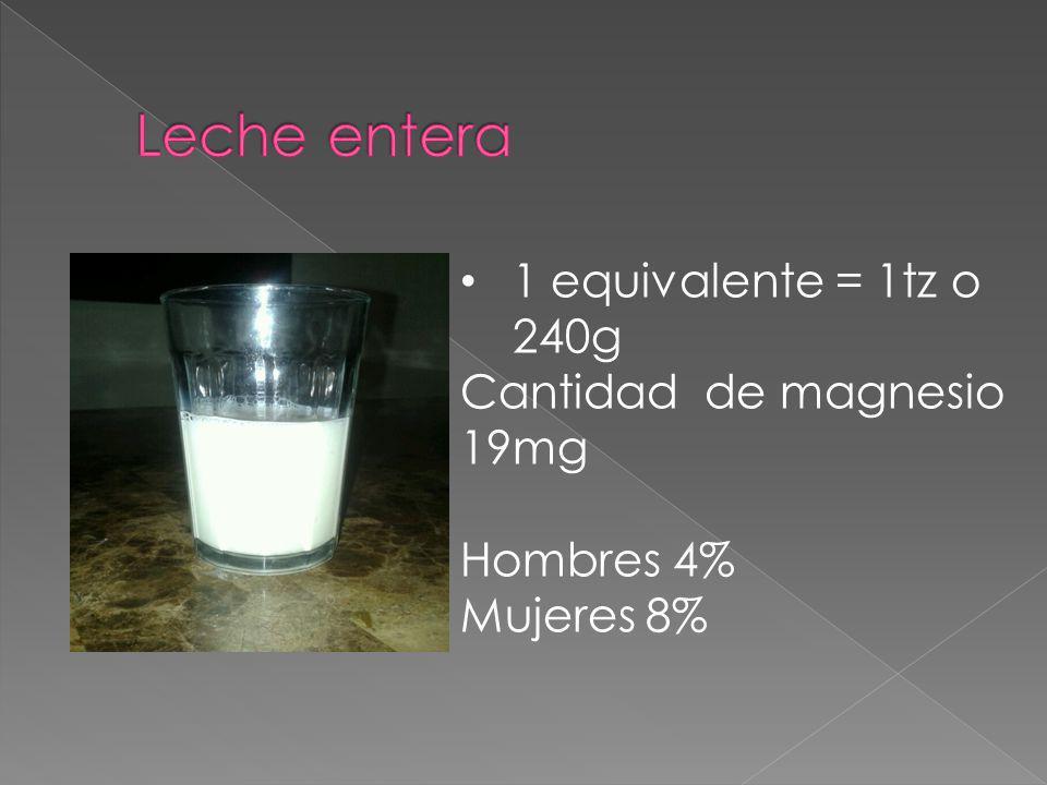 Leche entera 1 equivalente = 1tz o 240g Cantidad de magnesio 19mg
