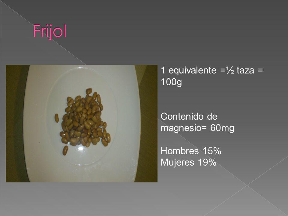 Frijol 1 equivalente =½ taza = 100g Contenido de magnesio= 60mg