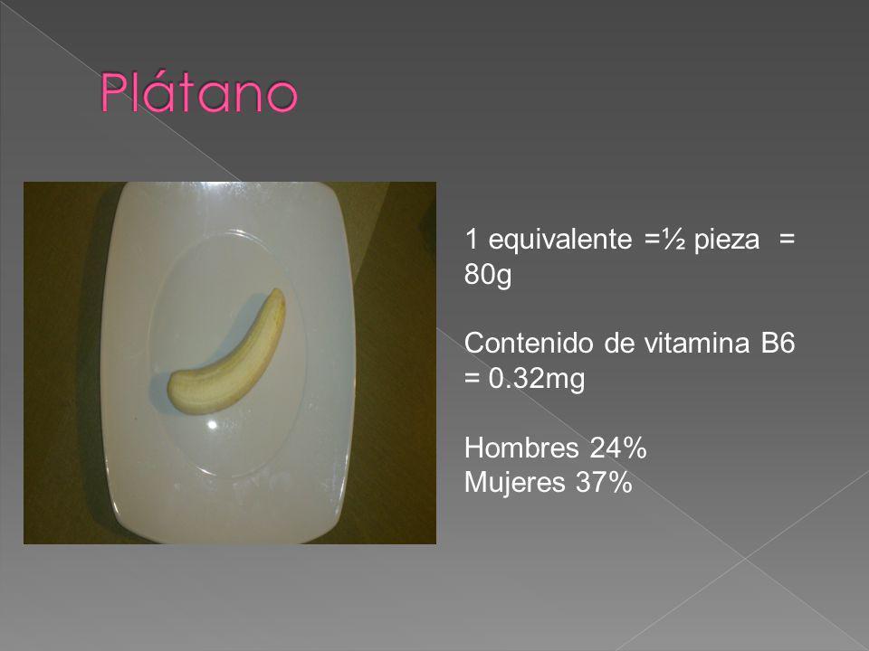 Plátano 1 equivalente =½ pieza = 80g Contenido de vitamina B6 = 0.32mg