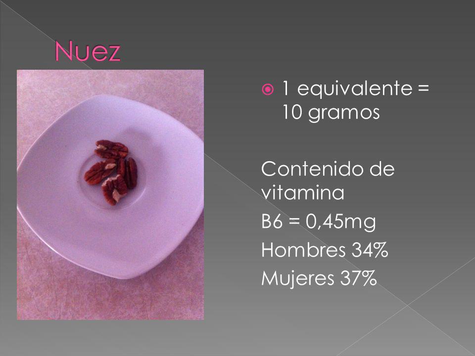 Nuez 1 equivalente = 10 gramos Contenido de vitamina B6 = 0,45mg