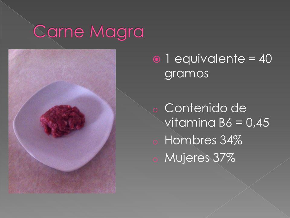 Carne Magra 1 equivalente = 40 gramos Contenido de vitamina B6 = 0,45
