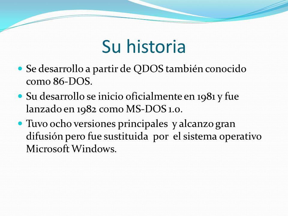 Su historia Se desarrollo a partir de QDOS también conocido como 86-DOS.