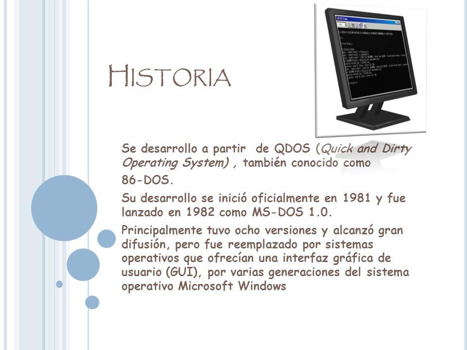 Historia Se desarrollo a partir de QDOS (Quick and Dirty Operating System) , también conocido como.