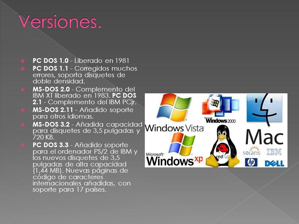 Versiones. PC DOS 1.0 - Liberado en 1981