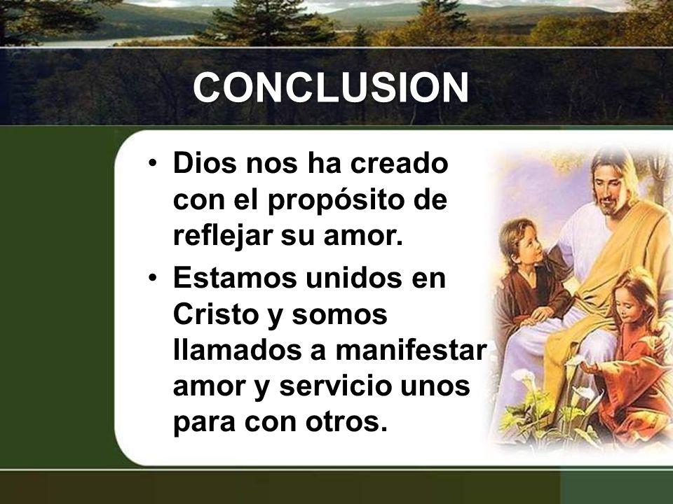 CONCLUSION Dios nos ha creado con el propósito de reflejar su amor.