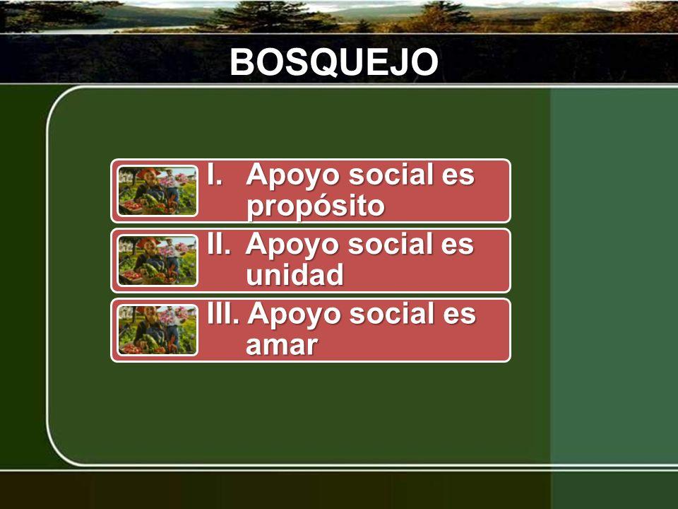 BOSQUEJO I. Apoyo social es propósito II. Apoyo social es unidad