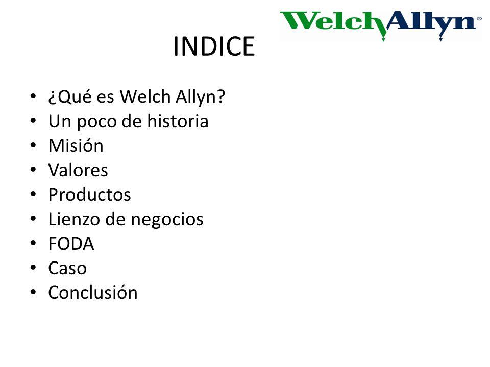 INDICE ¿Qué es Welch Allyn Un poco de historia Misión Valores