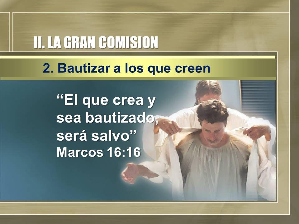 El que crea y sea bautizado, será salvo Marcos 16:16